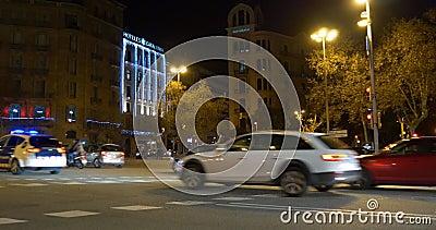 Night Light Barcelona City Traffic Crossroad 4k Spain ...