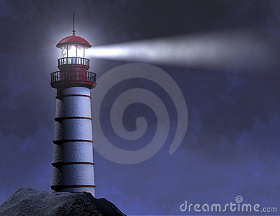Night Lighthouse Beam