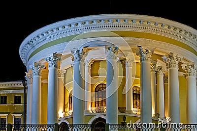 Night lighting columns of the October Palace