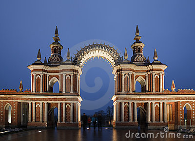 Night lighting gate of State historical museum