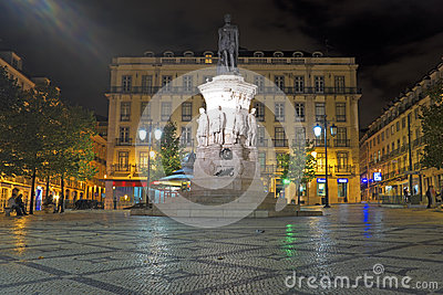 Night-lit statue in Lisbon, Portugal