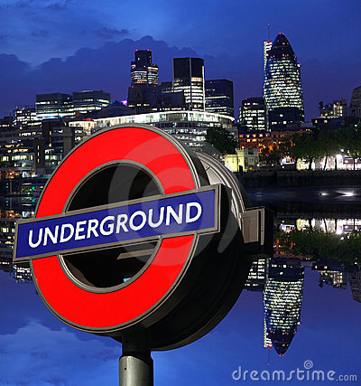 Night London cityscape with Underground symbol Editorial Stock Image