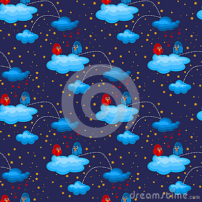 Night Love Birds in Clouds Seamless Pattern