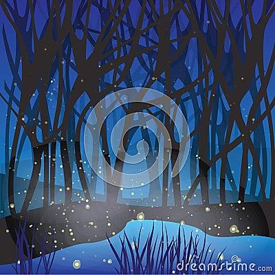 Night magic scene with fireflies.