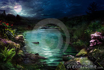 Night at magical river