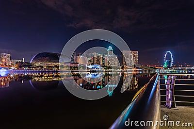 Night at marina bay Editorial Stock Image