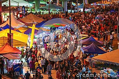 Night market at Batu Cave, Kuala Lumpur Malaysia during Thaipusam festival Editorial Stock Image