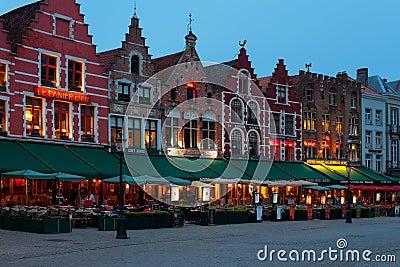 Night Market Square in Bruges Editorial Image