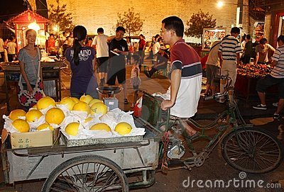 Night market and street fruit seller in China Editorial Photography