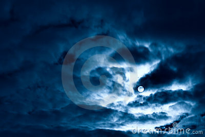 Night moon and clouds