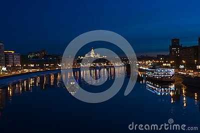 Night Moscow. Moscow River.