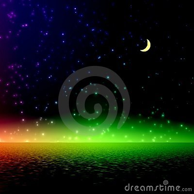 Free Night. Mystical Rainbow Light. Stock Photo - 385110