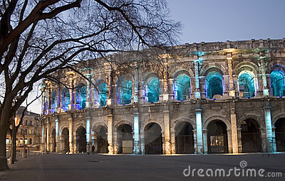By night N�imes (Nimes) roman Arena, France, Europe