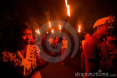 Night Nyepi - Balinese New year Editorial Stock Photo