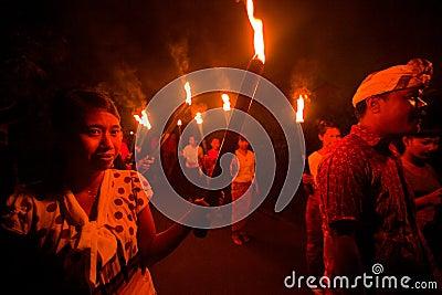 Night Nyepi - Balinese New year Editorial Stock Photo