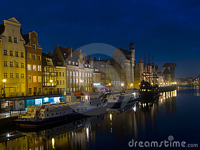 Night at old Gdansk