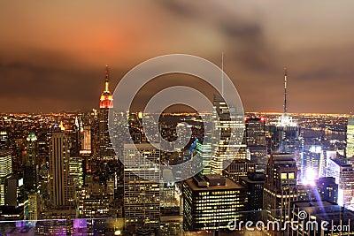 Night over New York city skyline