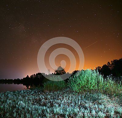 Free Night Over The Lake, The Stars In The Night Sky, A Falling Star Royalty Free Stock Photography - 78591687