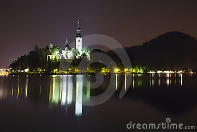 Night panorama of Bled Lake in Slovenia