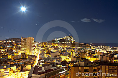 Night panorama city Alicante
