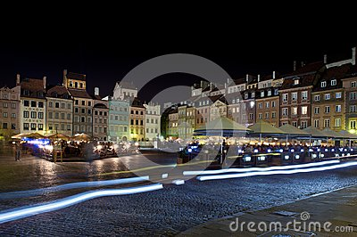 Night panorama of Old Town in Warsaw