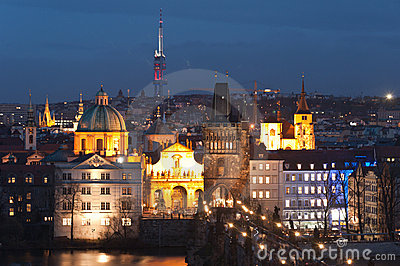 Night panorama of Prague, Czech Republic.