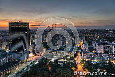 Night panorama of Warsaw city