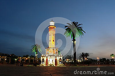 Night place with clocktower in Izmir.