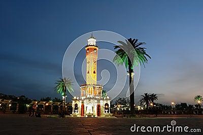 Night place with clocktower in Izmir.