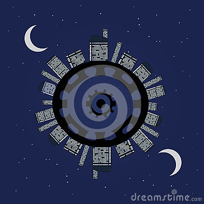 Night planet under stars.