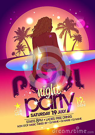 Free Night Pool Party Poster. Royalty Free Stock Photography - 41835827