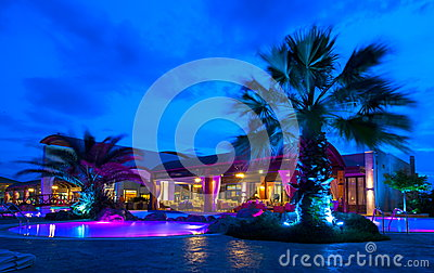 Night pool side of rich hotel