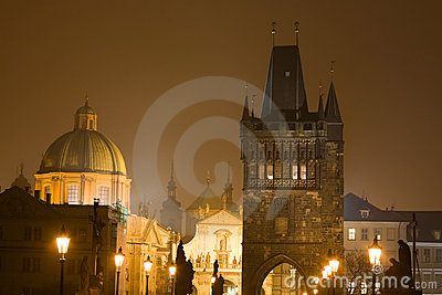 Night Prague fog