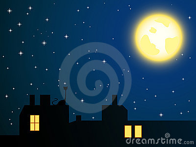 Night roofs and lonely cat looking at full moon