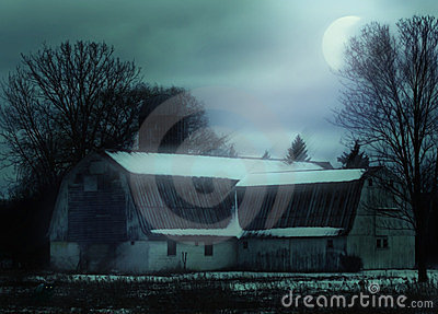 Night rural farm scene