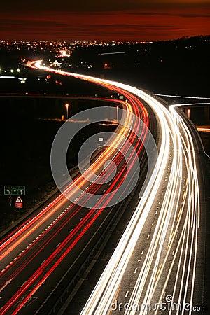Night rush hour traffic.