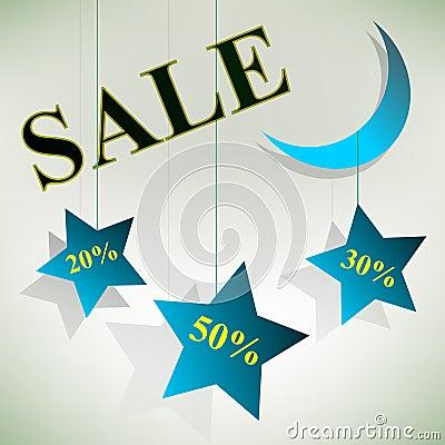 Night Sale Board Design. Vector Illustration