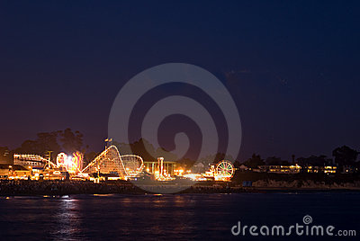 Night at Santa Cruz Beach Boardwalk Editorial Stock Photo