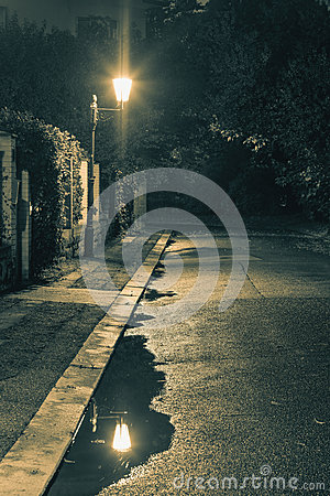 Free Night Scene After Rain - Lantern Lights And Puddle, Old Street Stock Image - 61277201