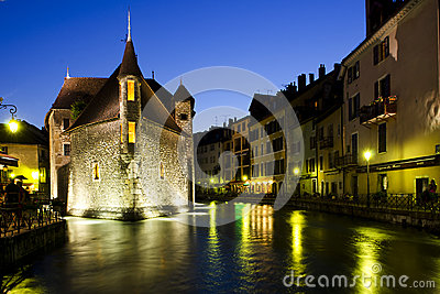 Night scene in Annecy, France