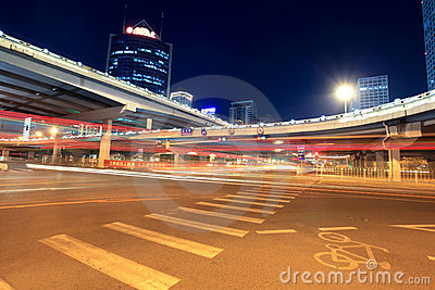 Night scene of beijing international trade bridge