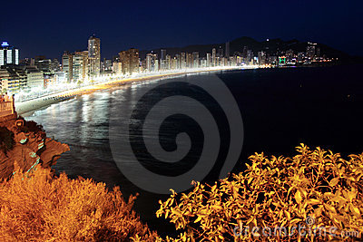 Night scene of Benidorm beach