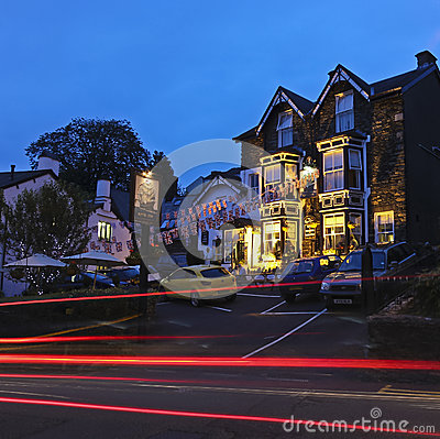 A Night Scene in Bowness-on-Windermere Editorial Stock Photo