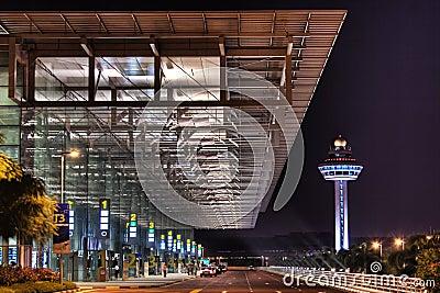 Night Scene at Changi Airport Terminal 3 Entrance Editorial Stock Image