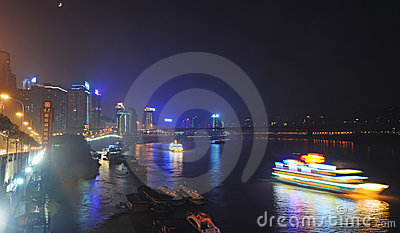 Night Scene of Chongqing port Editorial Stock Photo