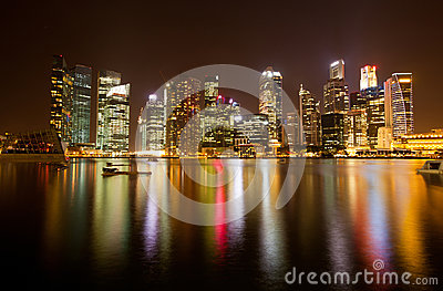 Night scene of financial district, Singapore.