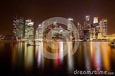 Night scene of financial district, Singapore.