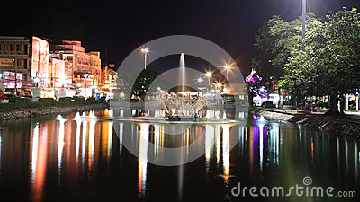 Night scene of fountain at Korat downtown Editorial Photo