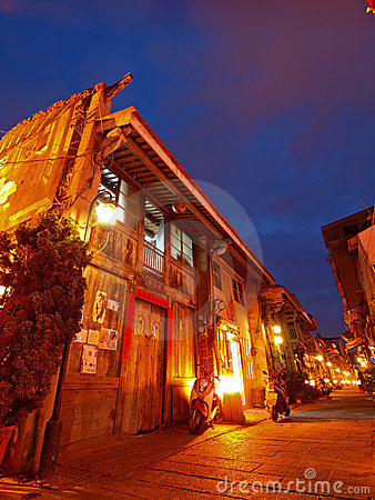 Night Scene of Hai-an Art Street in Tainan, Taiwan