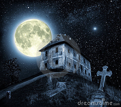 Night scene with haunted house